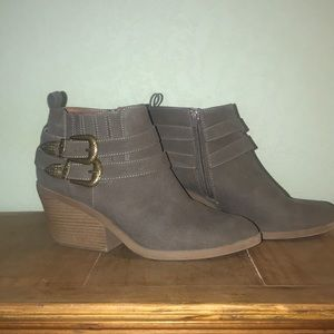 Qupid Grey/Taupe Booties